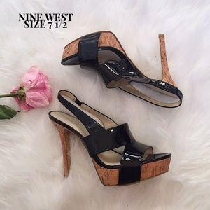 Nine West Fair Game Slingback Platform Heels 7 1/2